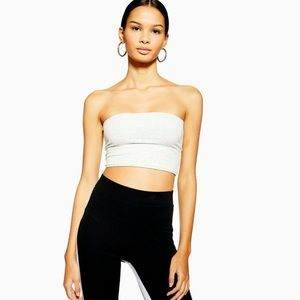 NWT Topshop | White Ribbed Bandeau Top Stretch Cro